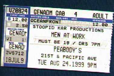 ticket stub from Peabody's